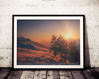 Polygonal Nature Art Decor, Geometric Triangle Pattern Print, Nature Forest Trees, Forest Sunset Poster, Wilderness Prints, Modern Art
