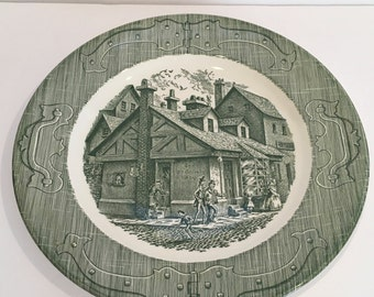The old curiosity shop plate, plate vintage plate, replacement, decor, green, underglaze, cottage, shabby chic, cabin, ceramic, dish