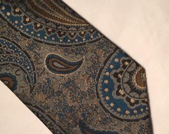 Vintage Cravatte Seta Style effemme gold green silk paisley tie