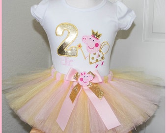 Pink and Gold Fairy Peppa Pig tutu Birthday outfit Personalized with name