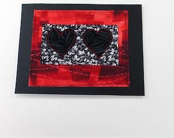 Handmade Fabric Romance Fabric  Card