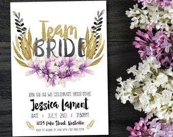 Boho bachelorette invitation, floral bachelorette invitation, boho hens invitation, magnolia, purple, gold, white, glitter, hens (Jessica)