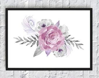 Rose flower watercolor print, watercolor flowers, floral watercolor, art print, wall art print, printable, floral print, watercolor poster