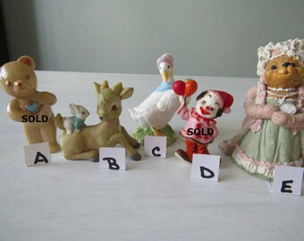 REDUCED Vintage Collectible Figurines Duck, Deer with Bunny, Duck, Clown  Beirlooms Miss Martha  116