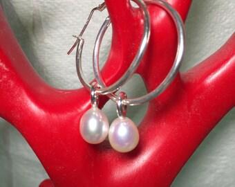 Made to Order  - Pearl Hoop earrings /pearl earrings /dangle/hoop/pearl/earrings/Sterling Silver/freshwater pearls/white pearls
