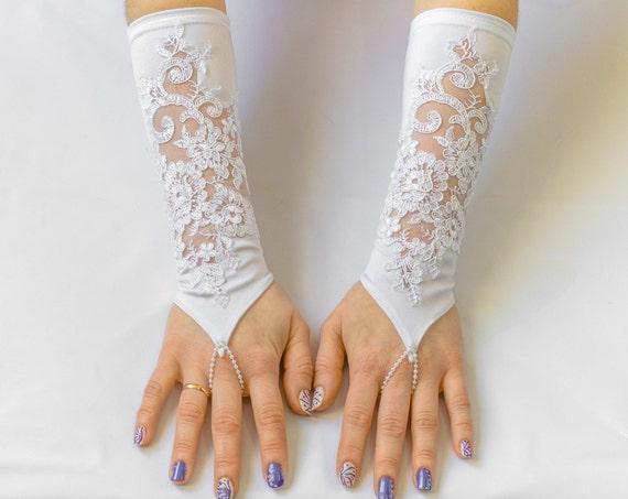 Satin lace gloves, White Fingerless Wedding Gloves, Bridal Wedding Gloves 08