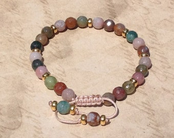 Multicoloured Indian Agate Adjustable Gemstone Bracelet with Gold Plated Beads