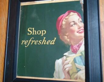 Vintage 1949 Lithograph - Vintage Shop decor - Vintage advertising - Shopping - Girl shopping  - Coca Cola - Retro decor, Salvaged sign, Art