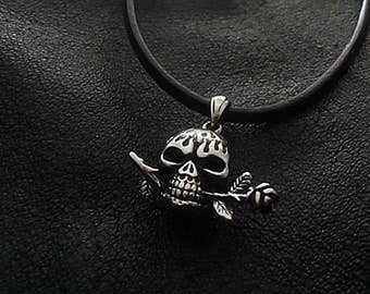 Human Skull Necklace, Skull with Rose Necklace,Skull Necklace,Mens Skull Jewelry,Skull Pendant Necklace,Mens Leather Necklace,Gothic Jewelry