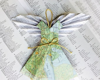 """Private Listing for Mary-grace917 Custom Angel of Ohio Ornament made from Repurposed Map 6"""""""