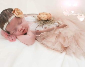 Newborn & Infant Blush Tutu Set, Baby Blush Tutu with Baby Butterfly Wings and Headband,  Infant Blush Tutu, Infant Butterfly/Fairy Wings
