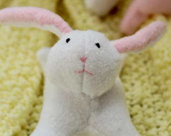 MADE TO ORDER Small White Easter Bunny Stuffed Animal ; white fleece stuffed animal Easter bunny with hand stitching