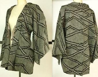 K204 Japanese Black Soshibori Haori Kimono Jacket