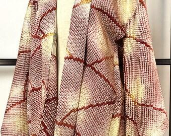 Japanese K028 Salmon Pink Brown Soshibori Haori Kimono Jacket Vintage