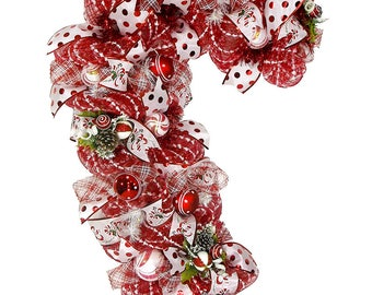 Giant Candy Cane Wreath - Peppermint Wreath - Christmas Wreath - Holiday Wreath - Front Door Wreath - Front Door Decor