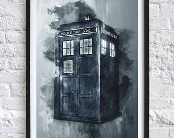 Dr Who - Tardis 'Watercolor' A4 Print