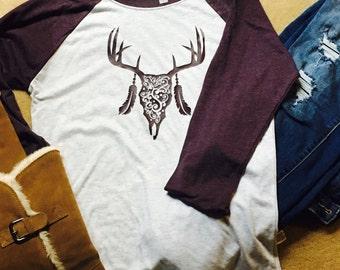 Long Sleeve Raglan Deer Skull Shirt- Womens Tribal Shirt- Deer Shirt