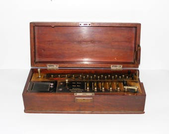 RARE Antique Bunzel Calculating Machine Factory Vienna 1910's