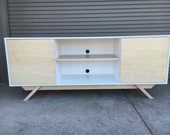 NEW Hand Built Mid Century Inspired TV Stand. Maple 2 door with center shelf and angled leg base. Buffet / Credenza