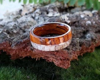 Elk Antler Wedding Ring -  Cocobolo wood with Copper Inlay - Bentwood ring Men's wedding ring Mens Wood ring men's engagement ring