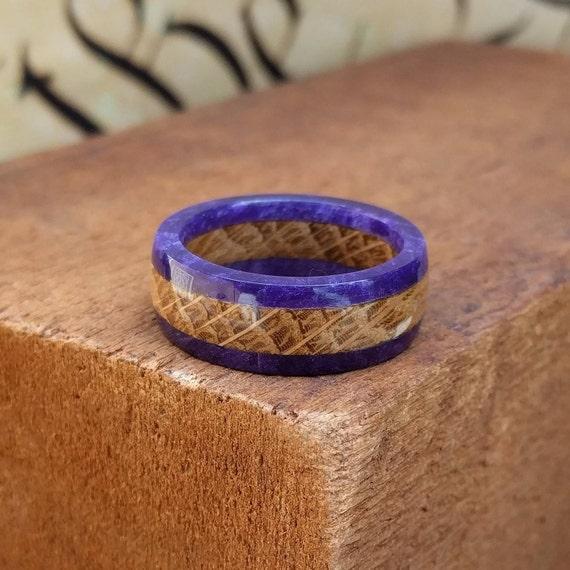 Purple Whiskey Barrel Wood Ring - Wood Ring Men Wood Wedding Ring  Woman Engagement Ring Anniversary