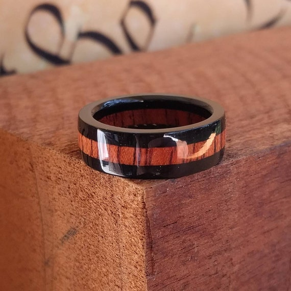 Ebony and Bloodwood Ring - Wood Ring Wedding Ring Men Engagement Ring Woman Anniversary