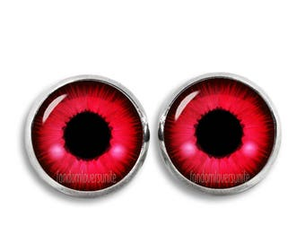 Red Eyes Stud Earrings Doll Eyes 12mm Earrings Fandom Jewelry Kawaii Geeky Fangirl Fanboy