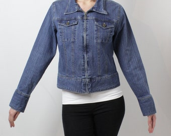 Vintage Denim Jacket 90's Jean Jacket Blue denim Jacket Womens Denim Jacket with Zipper Grunge Medium Size