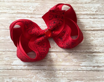 Red Boutique hair bow, hair bows, valentines hair bows, holiday hair bow, boutique bow, 4 inch hair bow, valentine's day hair bow