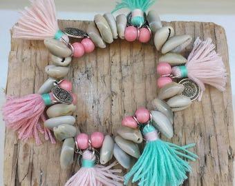 Bracelet charms, tassels and shells boho Bohemian hippie style