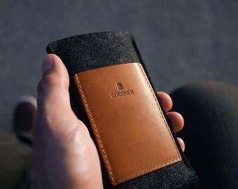 NEW Samsung Galaxy S8 / S8+ Wallet Sleeve - Vegetable Tanned Italian Leather and Merino Wool Felt, Grey / Tan