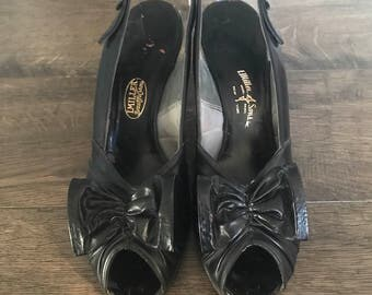 Vintage 1940's I. Miller and Sons Black Leather Peeptoe Pumps with Bows, Size 9AA.