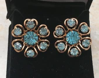 Vintage Gold-tone and Blue Crystal Flower-Shaped Earrings - converted from clip-on to pierced