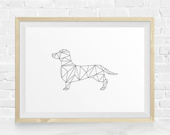 Geometric Dachshund, Dachshund Print, Geometric Animal, Geometric Wall Art, Animal Printable, Black & White, Instant Download