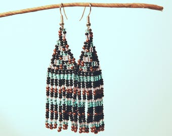 Copper and Blue Earrings