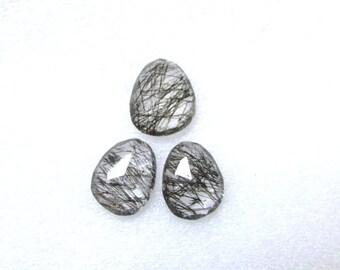 3 pieces pair BLACK Rutilated Rosecut Uneven Cabochon rosecut 13x16mm - 1 pcs Or 15x12mm -2 pcs Black Rutile Faceted Irregular Rosecut