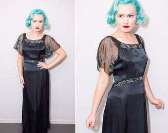 Edwardian Style Inky Black Rayon Long Dress with Sheer Embroidered Flutter Sleeves | Size Large