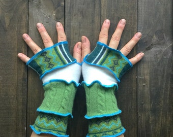 Fingerless Gloves - Made from Recycled Sweaters// Dragon Gauntlets// Arm Warmers