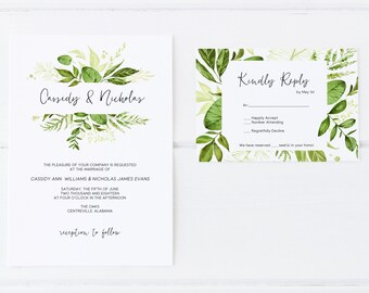 Wedding Invitations, Greenery Wedding Invitations, Printable Wedding Invitation Set, Modern Wedding Invitations, Floral Wedding Invitations