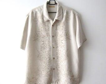 Vintage Extra Large Men's Shirt Linen Blend Shirt Short Sleeve Button Up Shirt Summer Men's Dress Shirt Beige Flowers Print Shirt