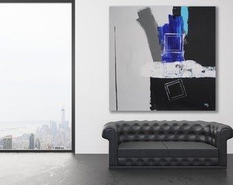 XL Minimalist Painting / Modern Art / Contemporary Art / Blue, Black, White and Grey Painting / Large Abstract Painting / Abstract Art