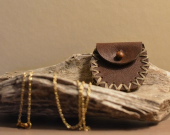 Leather Pouch Necklace - Dark Brown