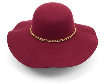 Women's Polyester Felt Wide Brim Floppy Hat with Gold Chain Band