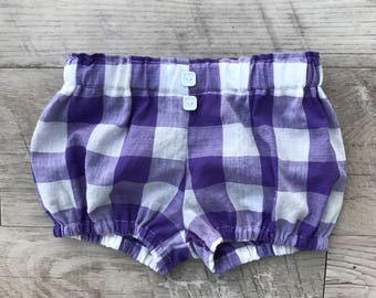 Baby bloomers/bloomers/baby shorts/summer baby bloomers/diaper cover/baby diaper cover/purple bloomers/summer bloomers/