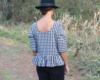 Top vichy, top black and white, women, in basque, black and white gingham top top top