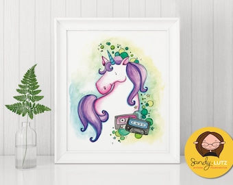 8 x 10 - Lola Licorne - printed poster - Reproduction of an original illustration painted with watercolors