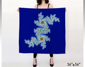 Fractal Scarf, Blue Scarf, Royal Blue Scarf, Fractal Design, Bridesmaid Gift, Woman Scarf, Bold Scarf, Square Scarf, Long Scarf, Satin Scarf