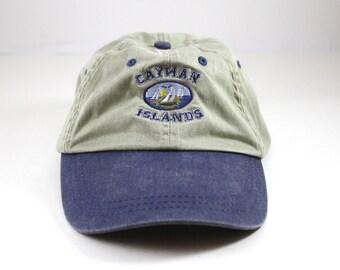 Vintage Cayman Islands Floppy Dad Hat // Sailing Baseball Cap // Khaki and Blue Vacation Hat // Low Profile