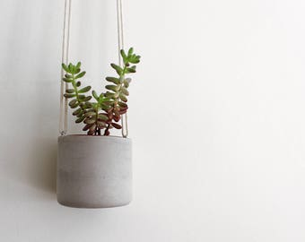 Concrete Hanging Planter // Perfect for Small Cacti and Succulents //Handmade Cement Plant Pot