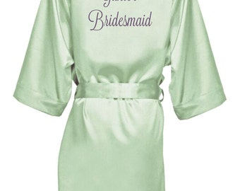 Bridesmaid Robe, Bridal Party Robe, Custom Robe, Embroidered Sage Robe, Personalized Robe, Wedding Party Robe, Plus Size Robe, EPIC SALE